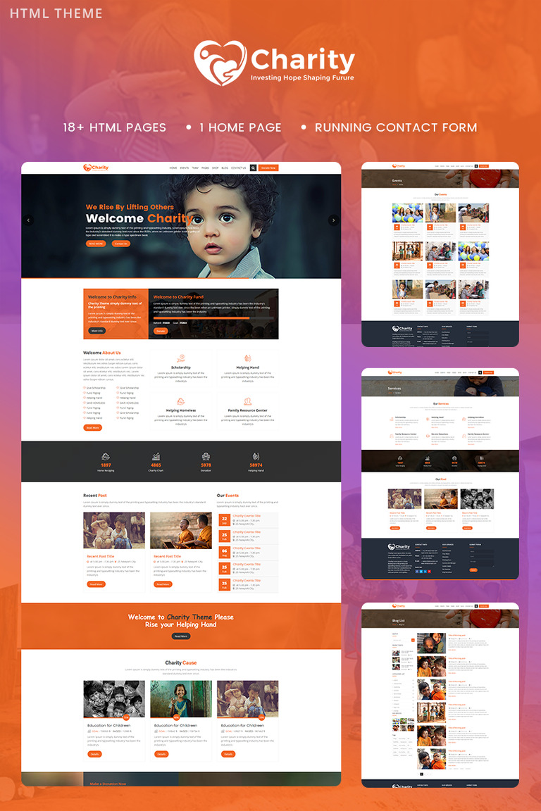 charity crowd fund non profit website template 68962