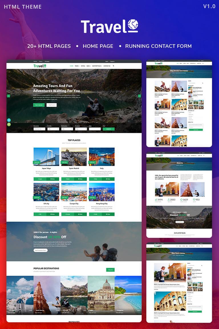 Travelo Tour Travel Agency Website Template Screenshot