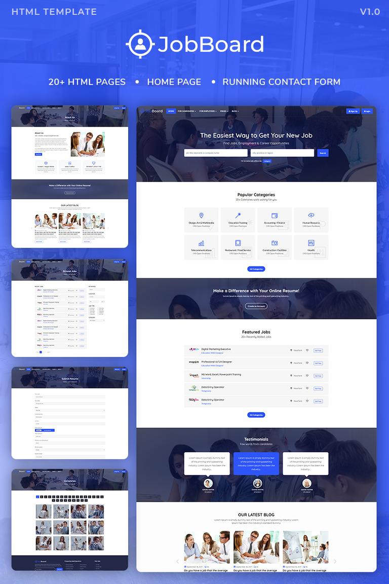 Job Board : Job Portal HTML Bootstrap 4 Website Template #73492