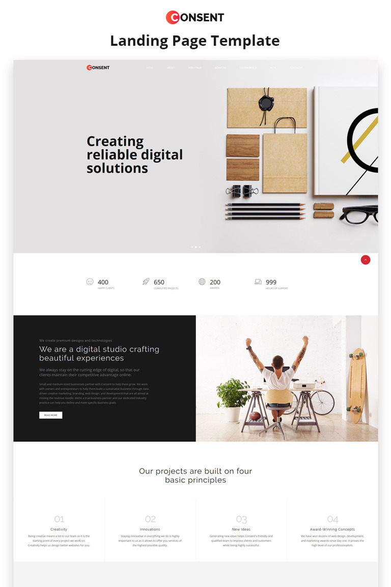 Digital agency landing html5 template consent digital agency html5 landing page template big screenshot yadclub Image collections