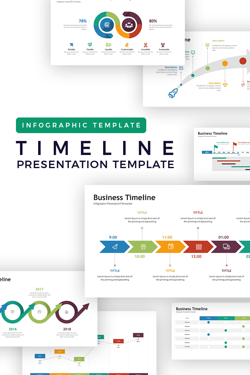 timeline infographic powerpoint template 72072