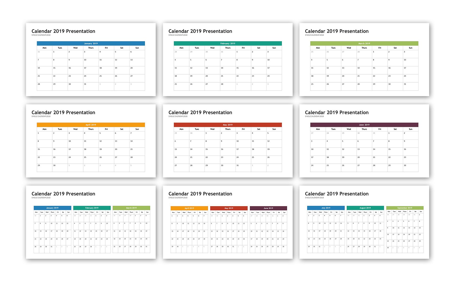 Powerpoint Calendar Template | Calendar 2019 Infographic Powerpoint Template 74264