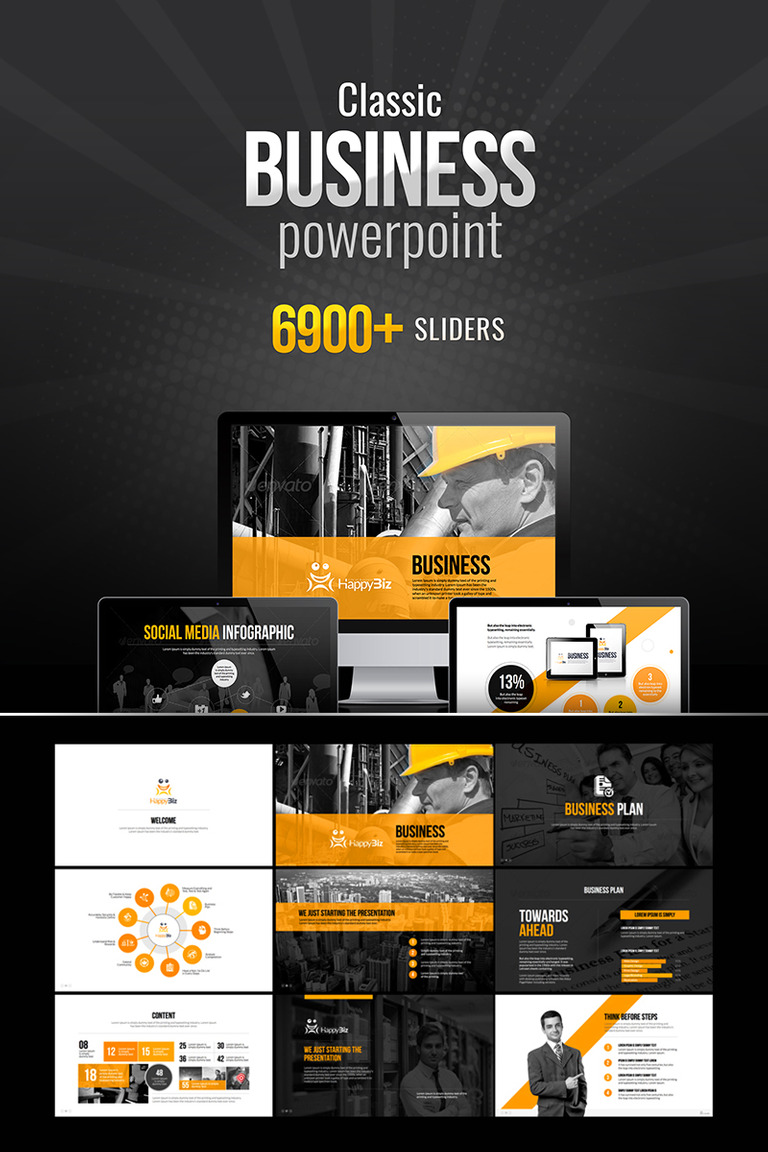 HappyBiz | Classic Business PowerPoint Template #73706