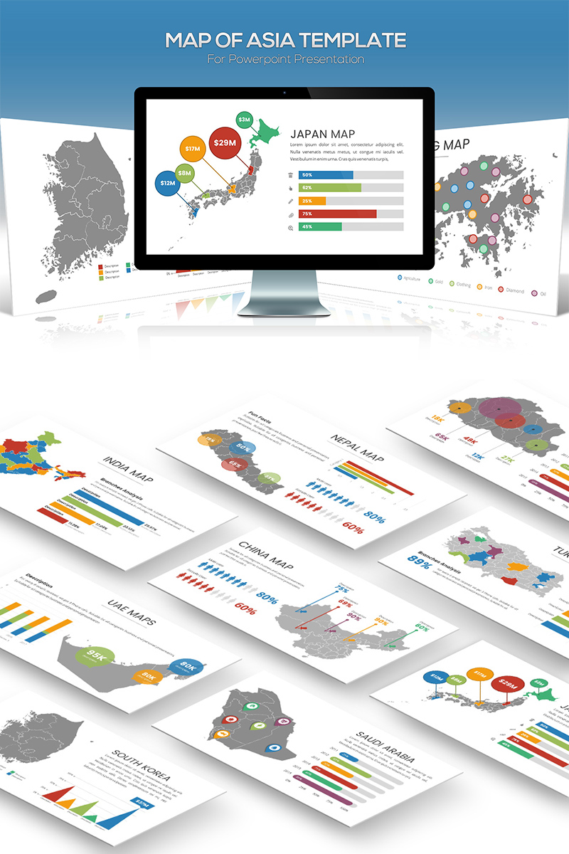 Asia Maps for Powerpoint Presentation PowerPoint Template #81876