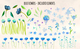 Blue Flowers 95 Floral Watercolor Elements Illustration
