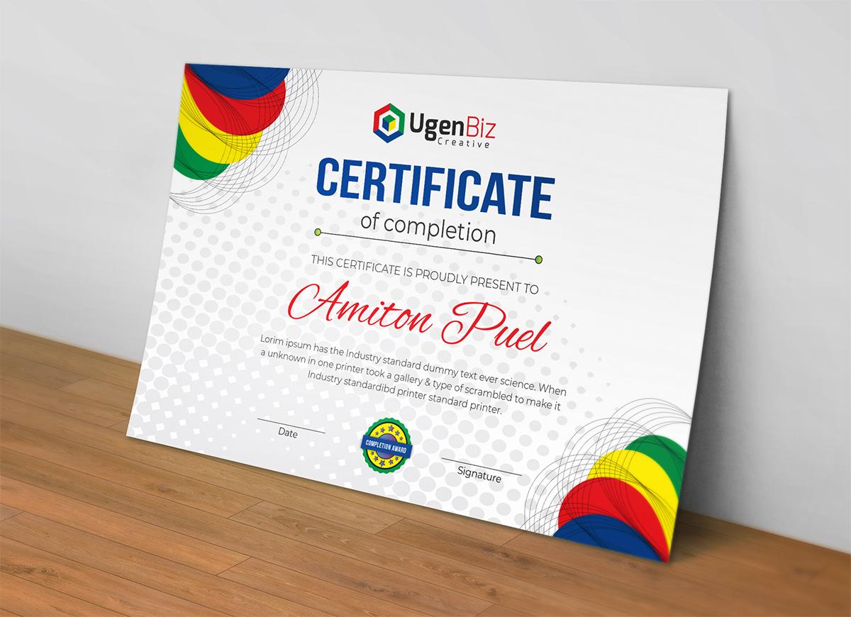 Print Ready Editable Modern Certificate Template #73491