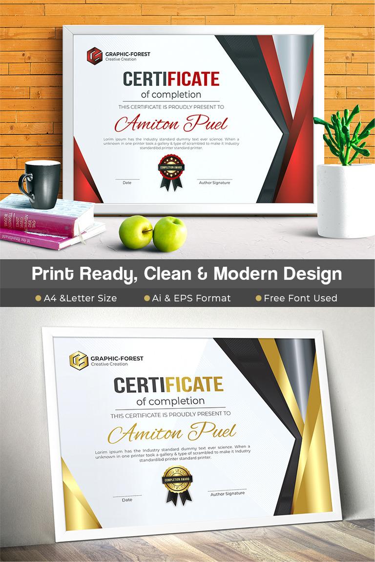 modern certificate template big screenshot - Modern Certificate Template