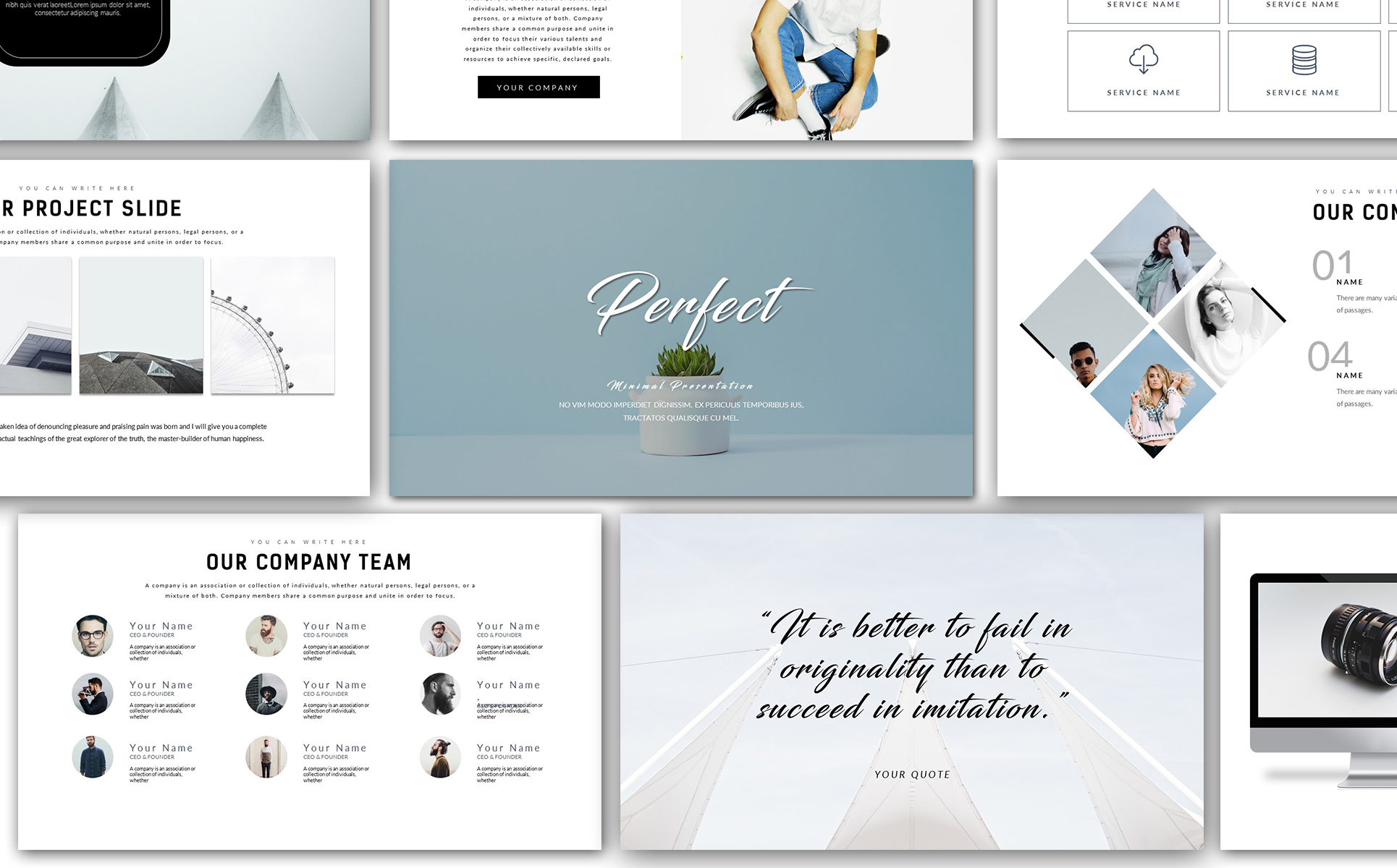 Perfect - Minimal Presentation PowerPoint Template #67868