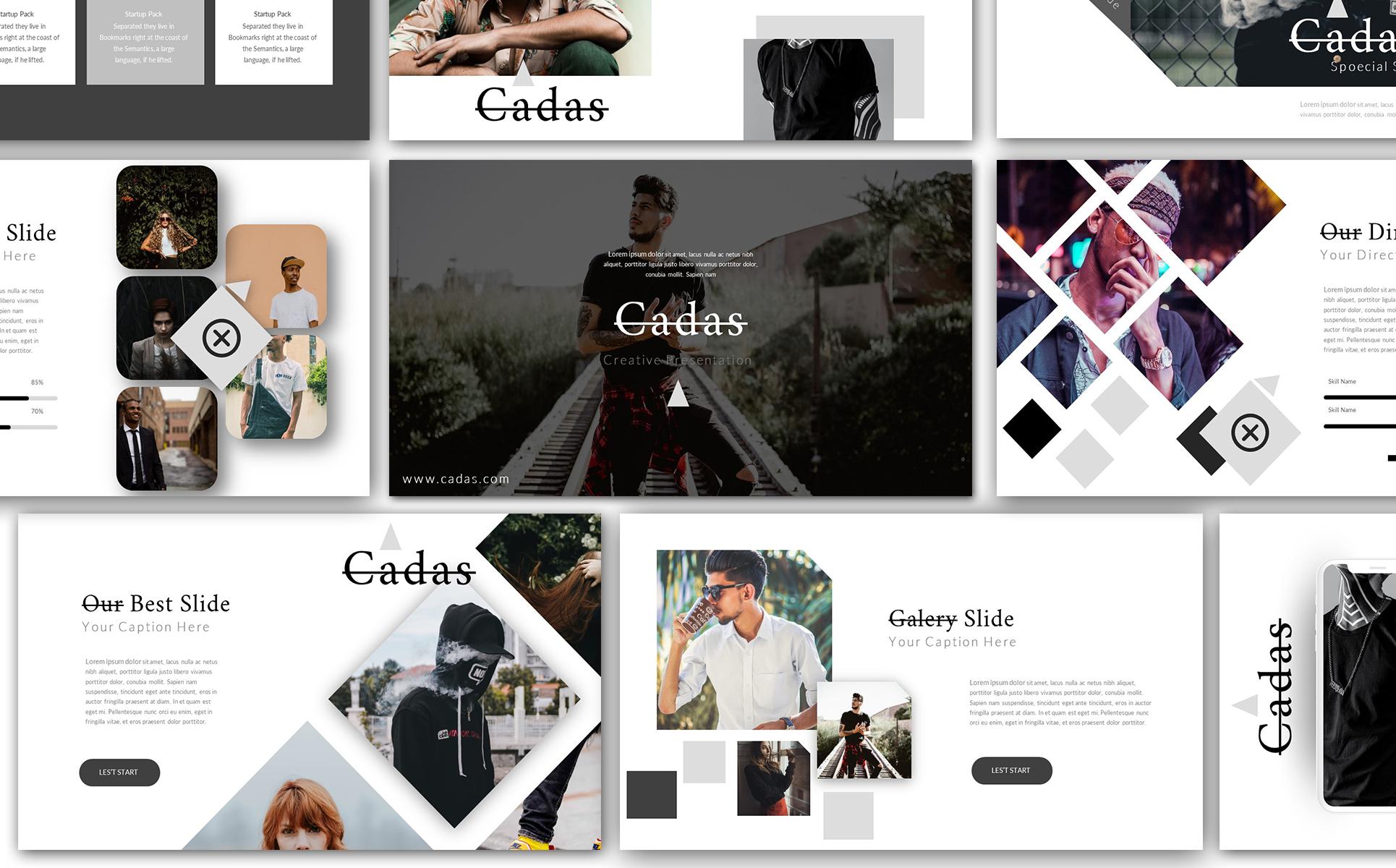 cadas creative presentation powerpoint template 74351