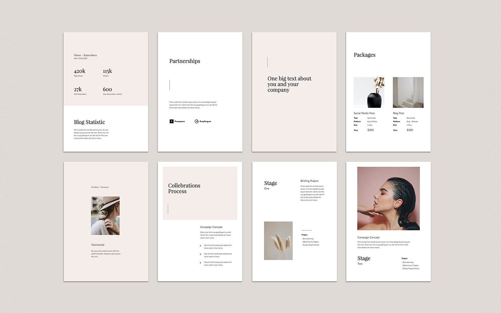 MONA - A4 Vertical Media Kit PowerPoint Template