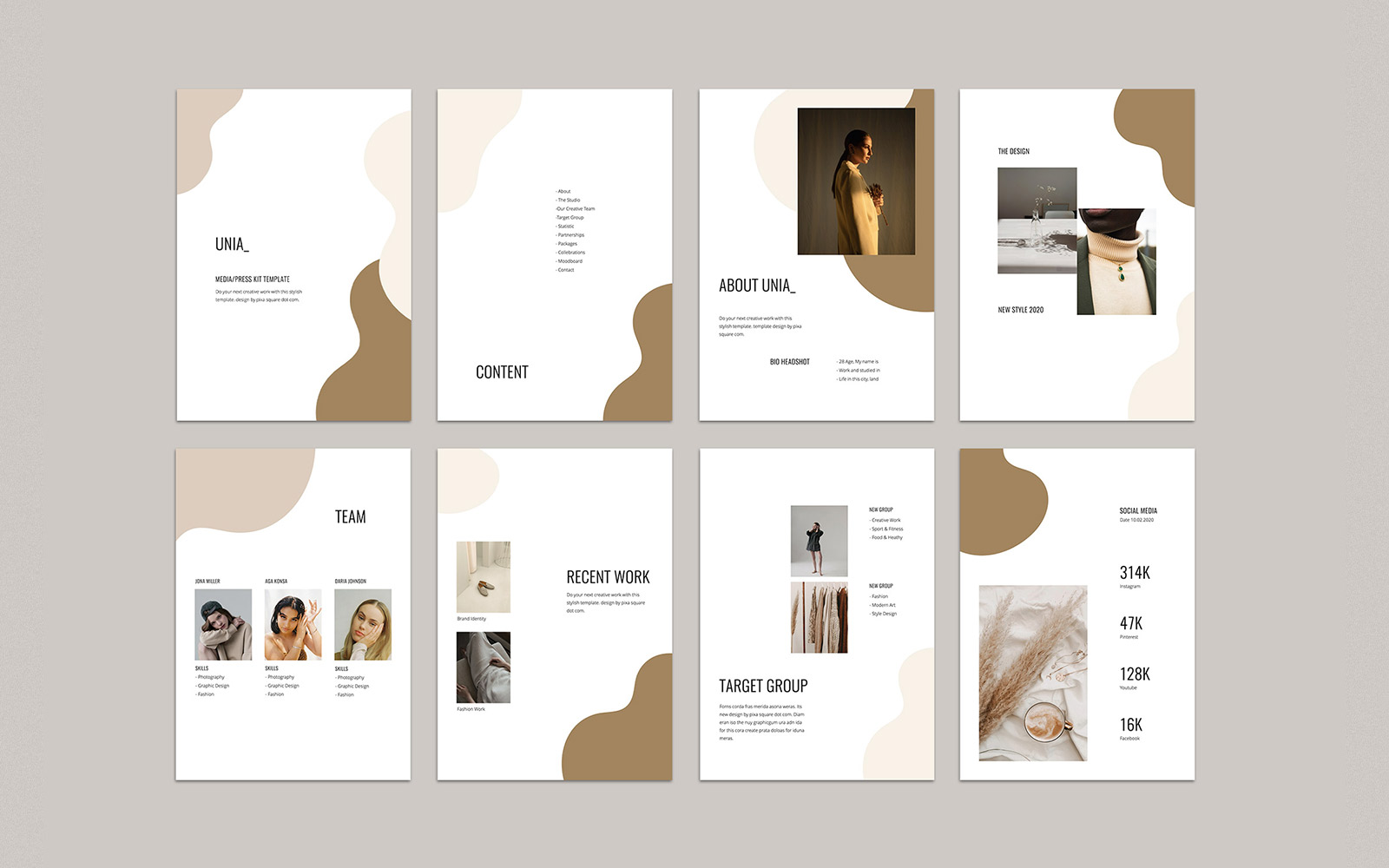 UNIA - A4 Vertical Media Kit PowerPoint Template
