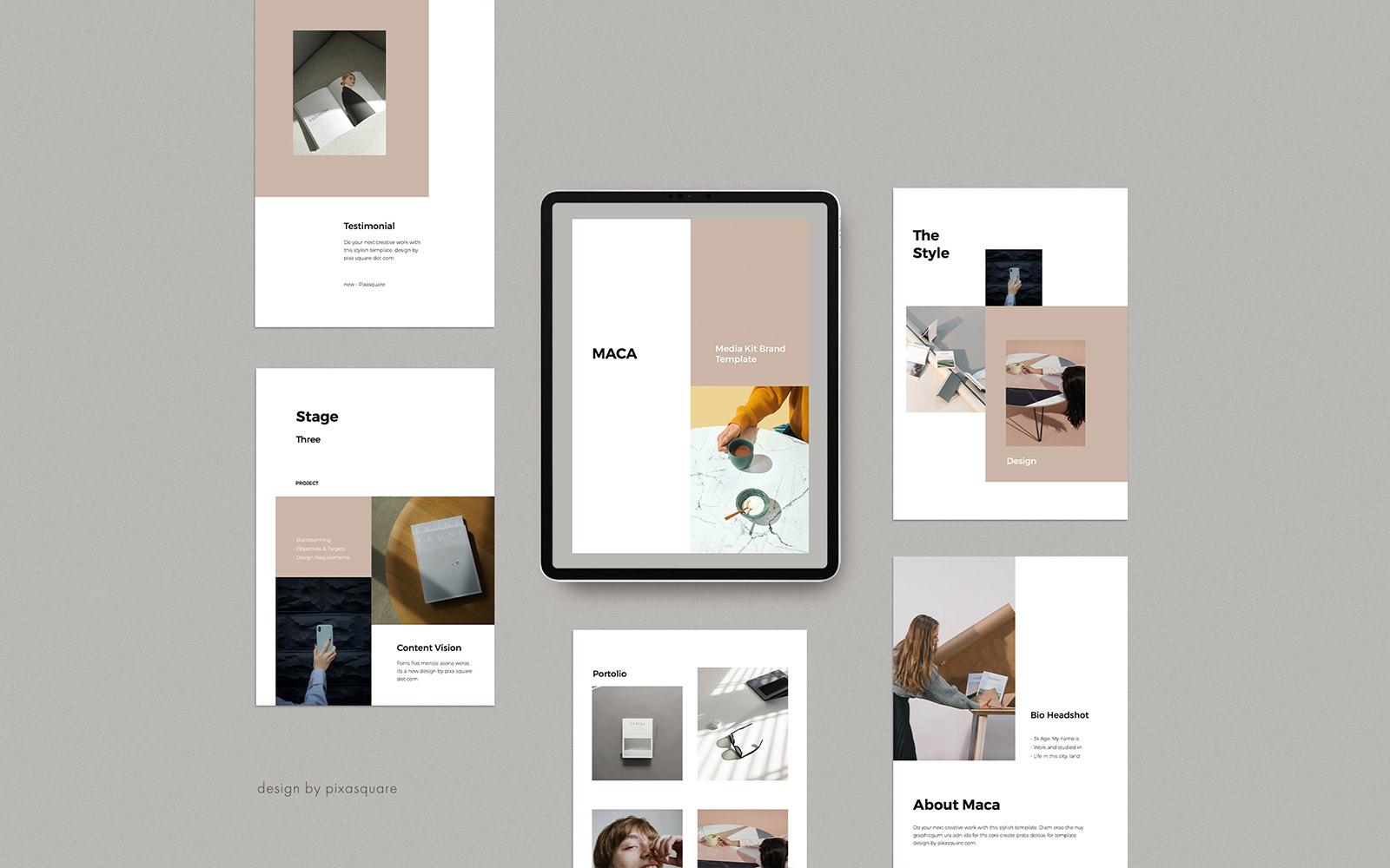 MACA - A4 Vertical Media/Press Kit PowerPoint Template