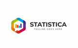 Szablon Logo Statistics Hexagon Colorful #77787