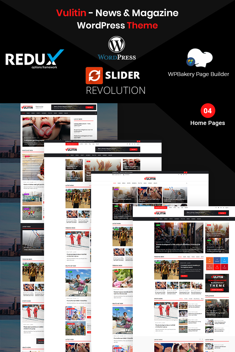 Адаптивный шаблон №76955 на тему бизнес и услуги, медиа-сайт, новостной портал