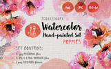 Gentle Poppies PNG Watercolor Set Bundle