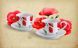 Hand-painted Poppies PNG Watercolor Set Illustration