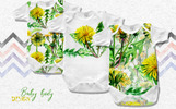 Bright Yellow Dandelion PNG Watercolor Set Illustration