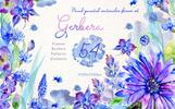 Blue Gerbera PNG Watercolor Flower Set Illustration