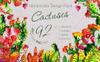 Cool Tropical Cactus PNG Watercolor Set Illustration Big Screenshot