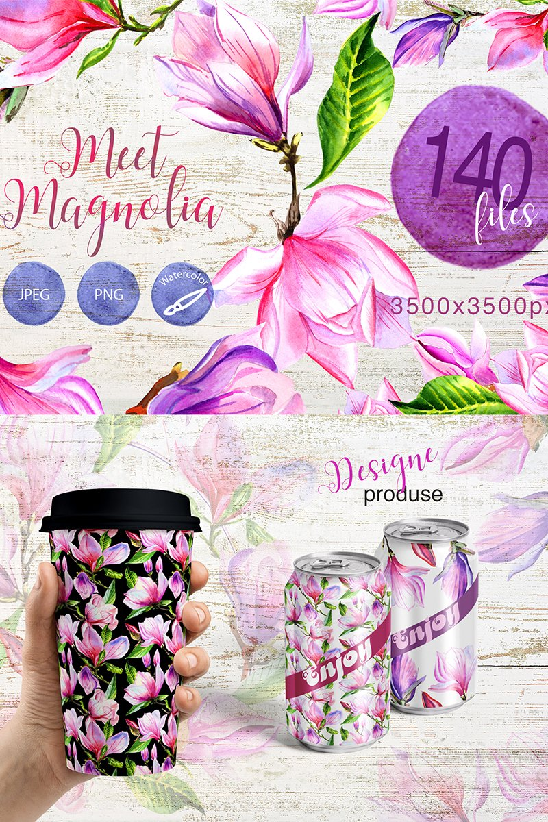 Meet Magnolia Png Watercolor Flower Set Illustration 69377