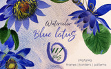 Blue Lotus PNG Watercolor Set Illustration