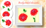 Beautiful Red Dahlia PNG Watercolor Set Illustration
