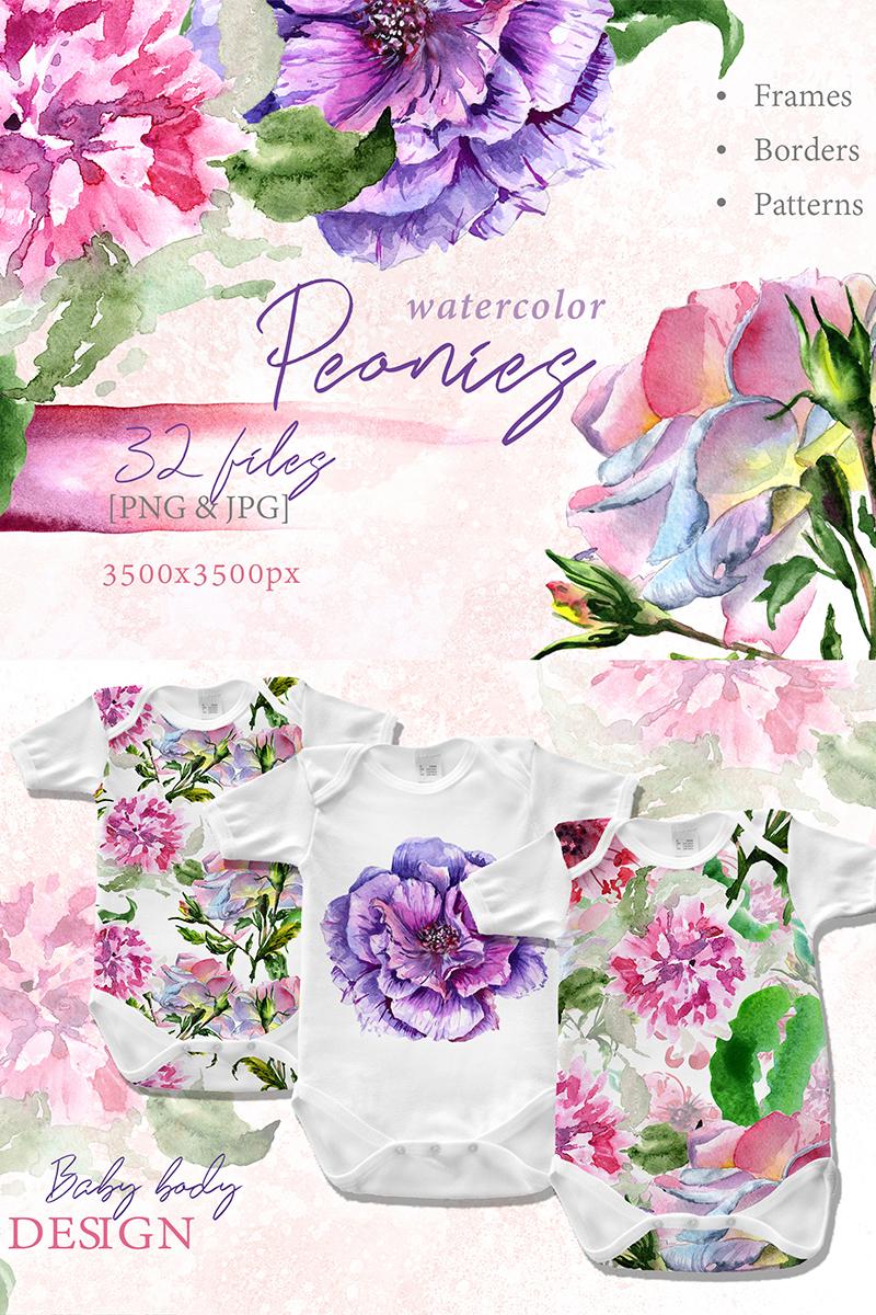 Elegant Peony Png Watercolor Flower Set Illustration 69719