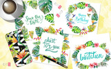 Tropical Beach PNG Watercolor Set Illustration