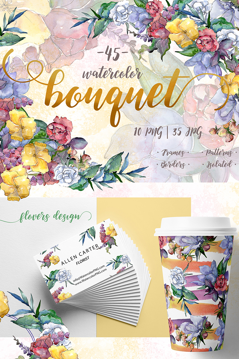 Watercolor bouquet png flower set illustration 70190 izmirmasajfo
