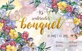 Watercolor Bouquet PNG Flower Set - Illustration