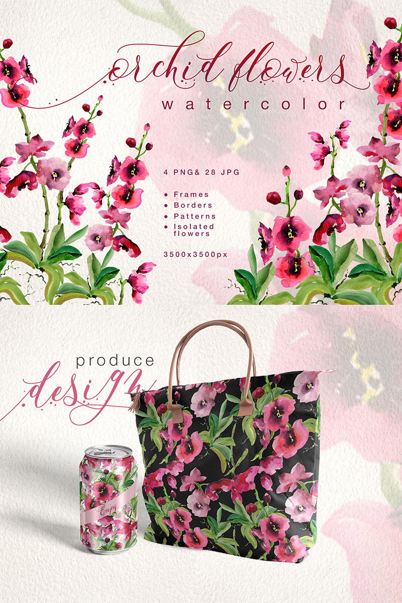 Pink Orchid Flowers Png Watercolor Set Illustration 70946