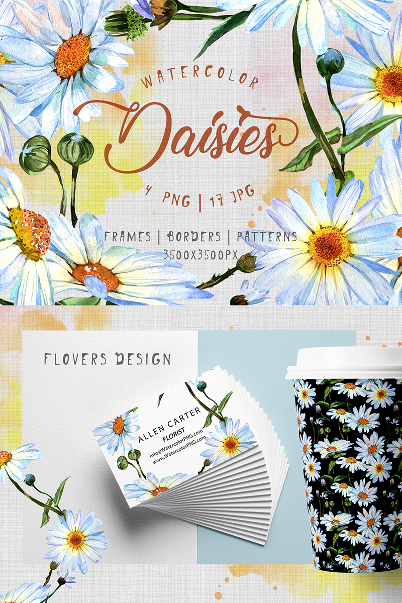 Cool Watercolor Daisies Png Set Illustration 71585
