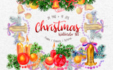 Christmas Watercolor PNG Set Illustration