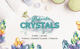 Crystals Blue And Yellow Watercolor Illustration