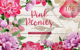 Pink Peonies Watercolor png Illustration