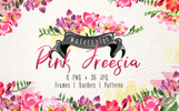 Pink Freesia Watercolor png Illustration