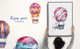 "Иллюстрация ""Balloons Watercolor Blue png"""