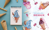 Appetizing Ice Cream Watercolor png Illustration