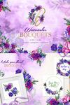 Bouquets Of Purple Flowers Watercolor PNG Illustration