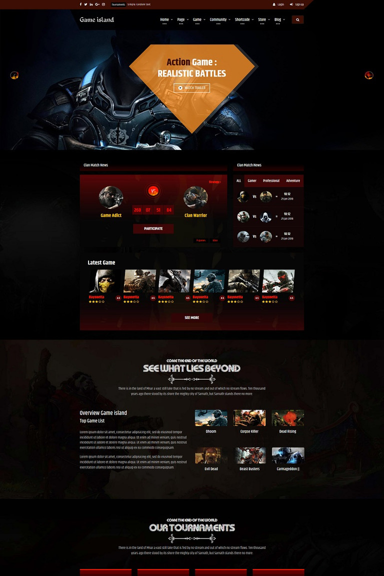Game Island - Community Portal Gaming Multi Purposes Bootstrap Website Template