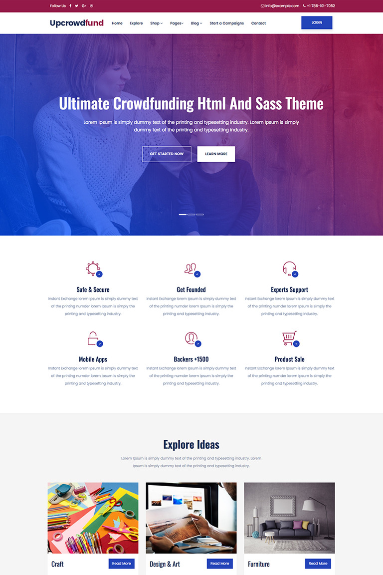 Upcrowdfund Html And Sass Crowdfunding Website Template 68576
