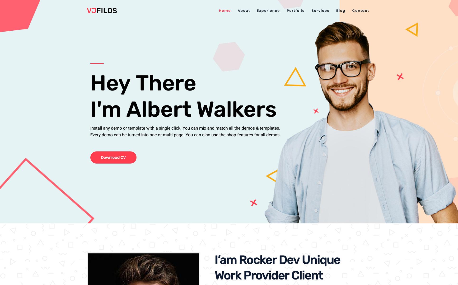 Vjflios - Portfolios and Personal CV Landingpage WordPress Theme