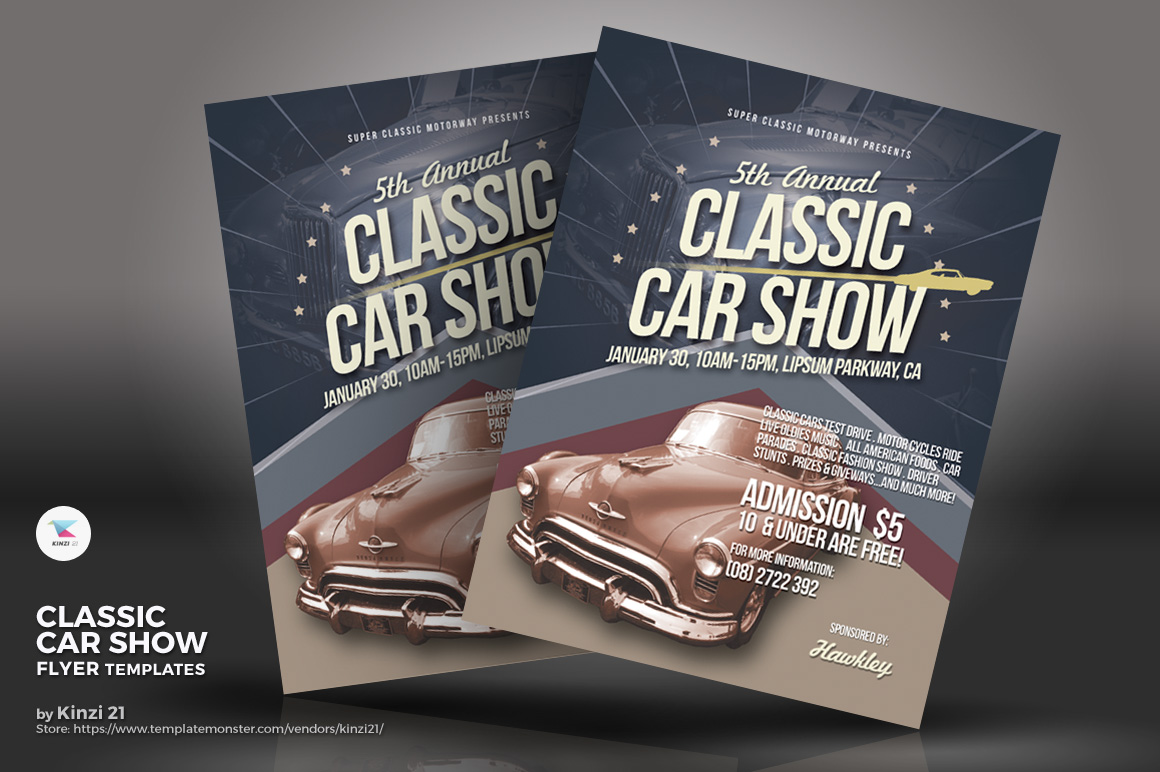 Classic Car Show Flyer Corporate Identity Template - Classic car show poster template