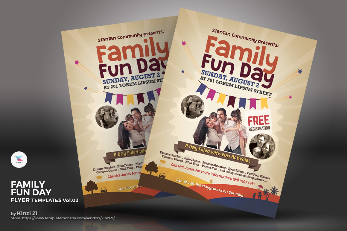 family fun day flyer corporate identity template 69770