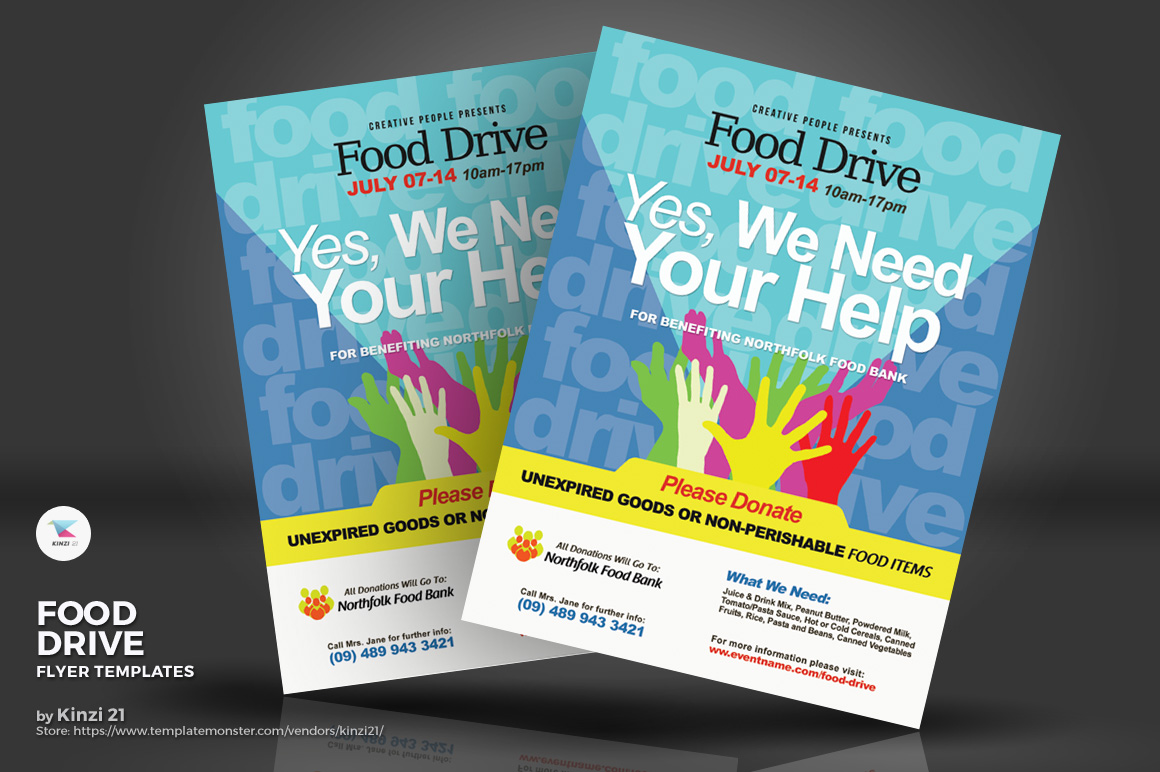 food drive flyers corporate identity template 71231