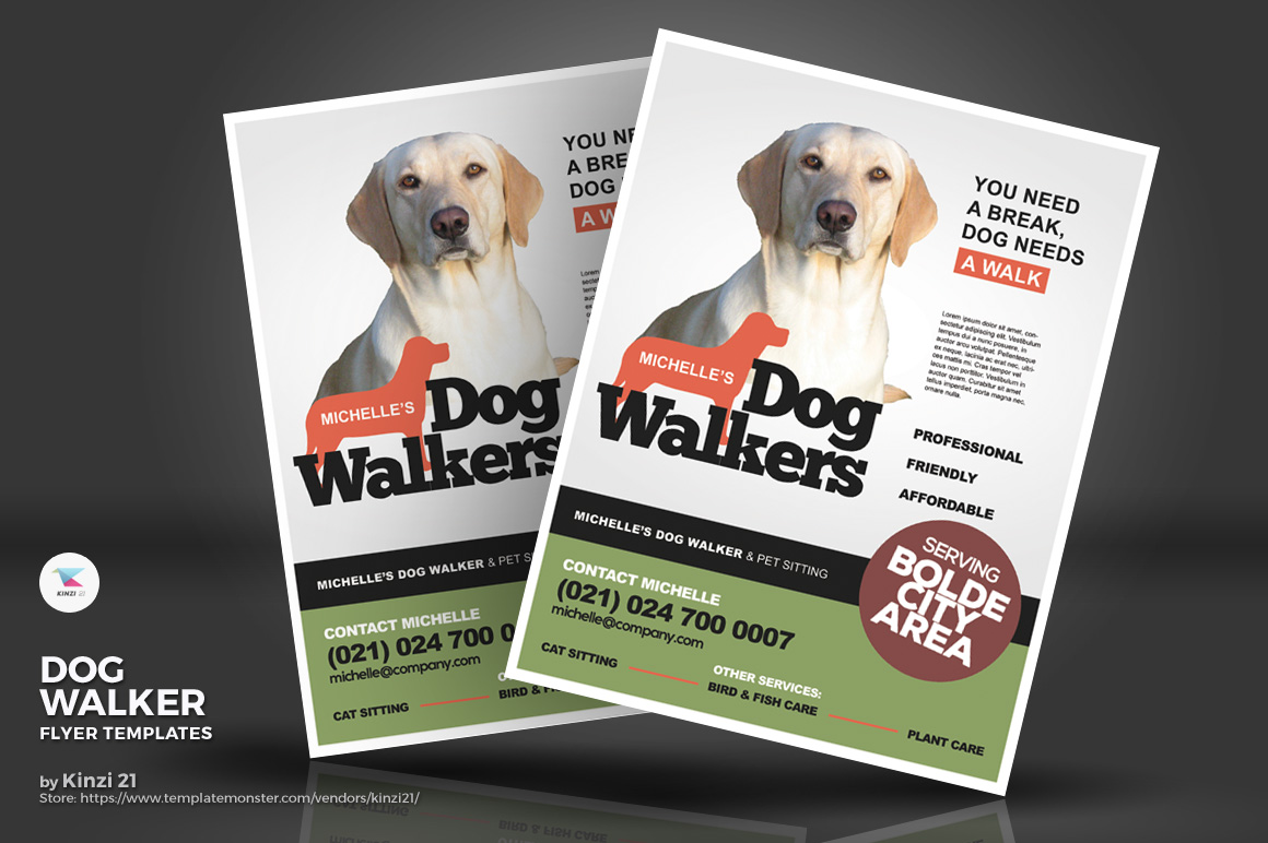 Dog Walker Flyers Corporate Identity Template #71233