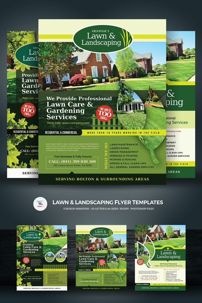 lawn  u0026 landscaping flyers corporate identity template  71799