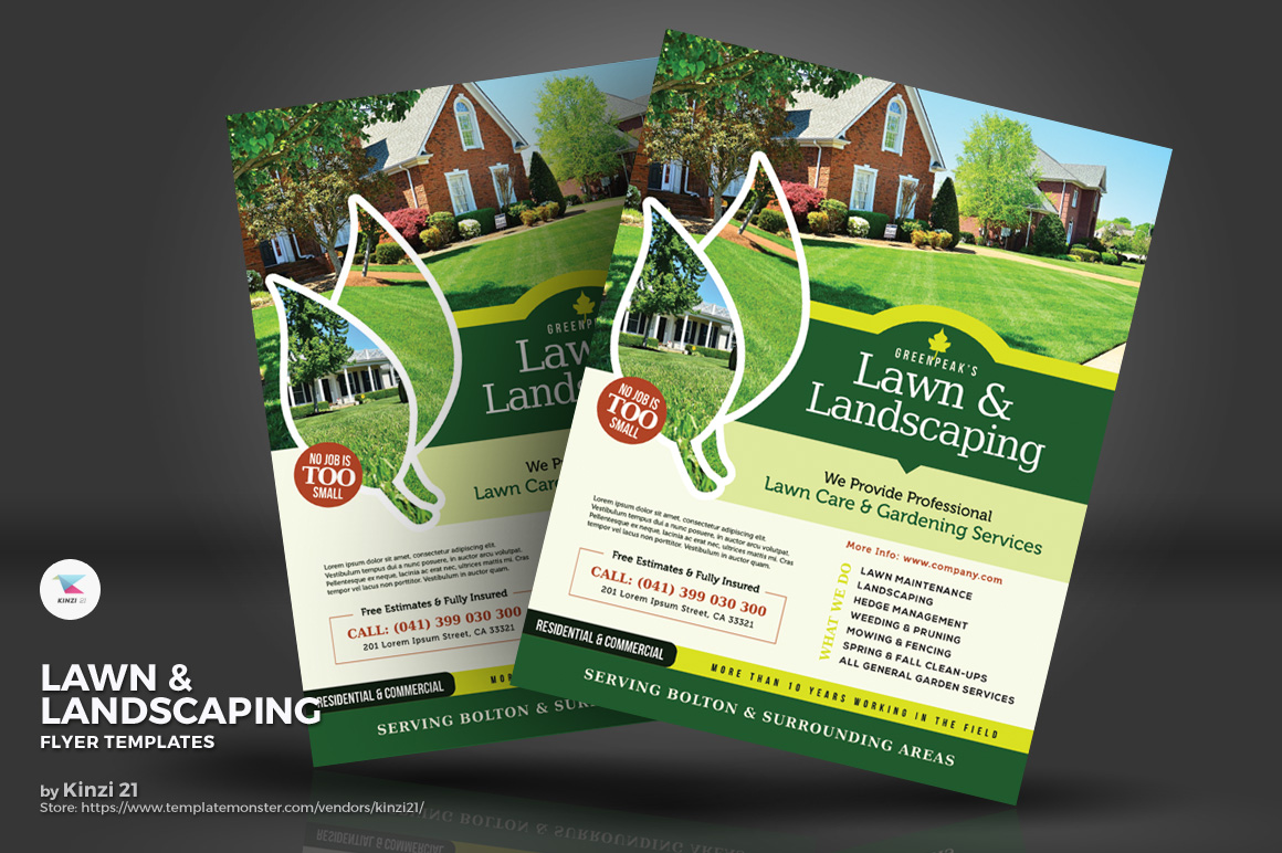 lawn landscaping flyers corporate identity template 71799