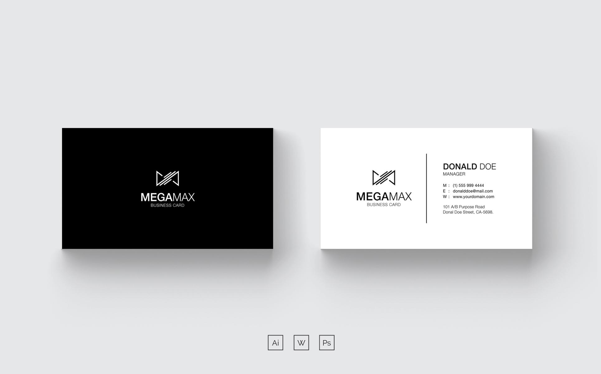 Black white minimal business card corporate identity template 68080 black white minimal business card corporate identity template big screenshot colourmoves