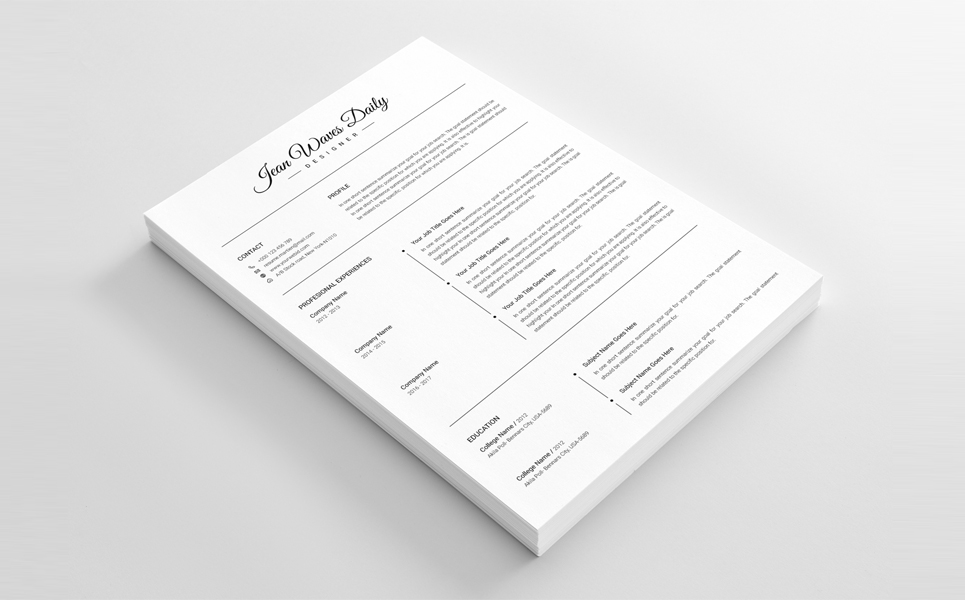 jean waves daily clean cv resume template 67935